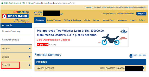 Edit IPO application details in HDFC bank Demo 1