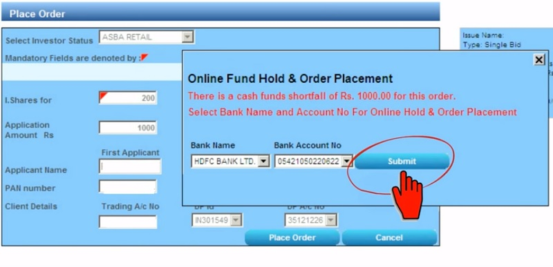 Apply IPO with HDFC Securities - Step 4