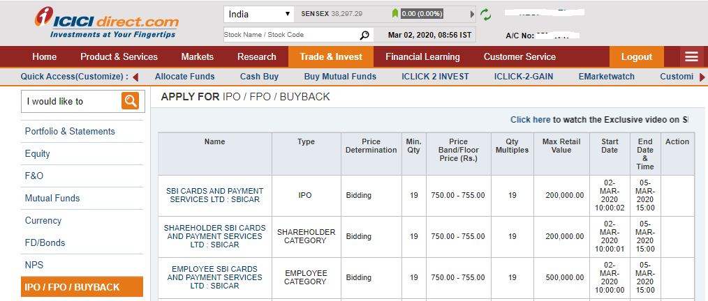 ICICI  IPO Application