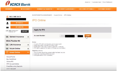 Modify IPO application in ICICI bank Demo 4