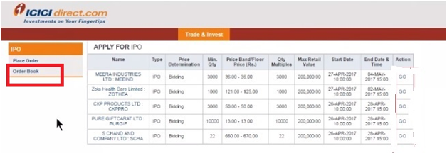Modify IPO application in ICICI bank Demo 6