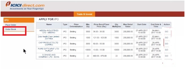 Withdraw an IPO applied using ICICI netbanking Demo 6