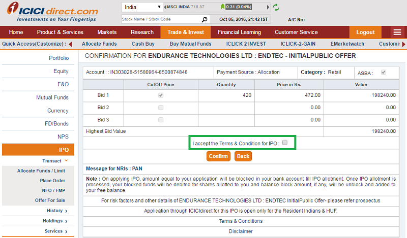 Apply IPO with ICICI Direct - Step 3