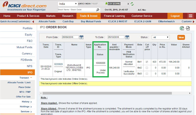 Apply IPO with ICICI Direct - Step 5