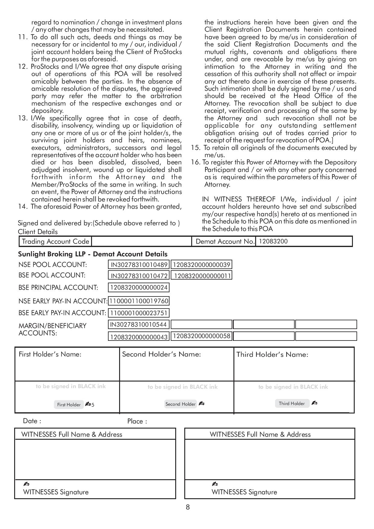 Power of attorney format bank account