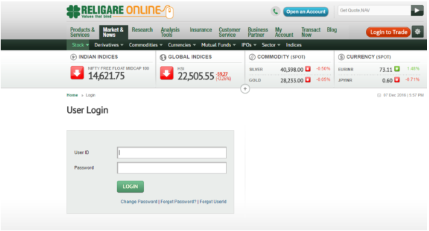 Religare Online Web