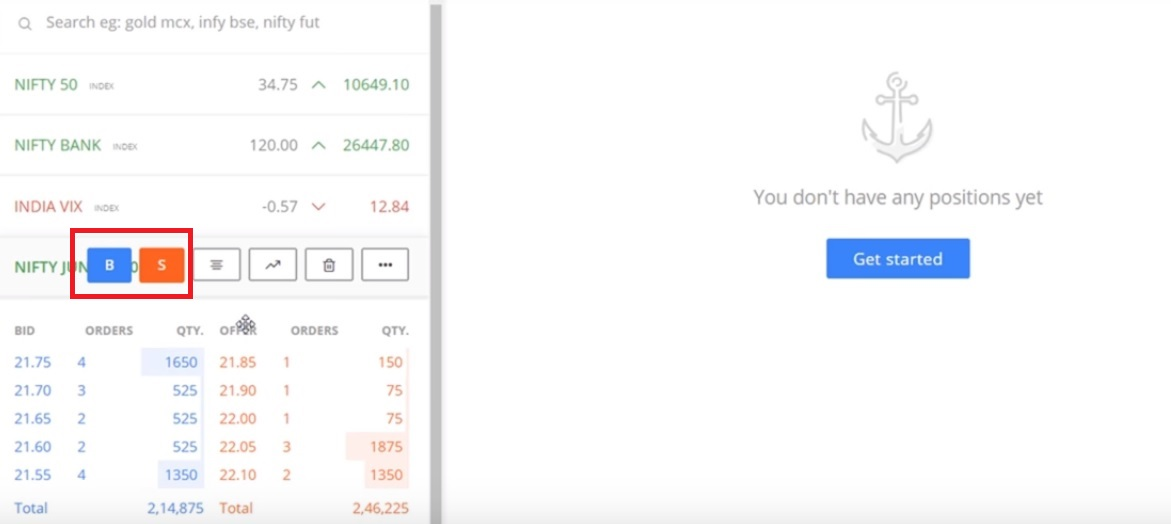 Place Options Order in Zerodha Kite