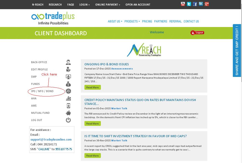 Apply IPO with Tradeplus Online - Step 2