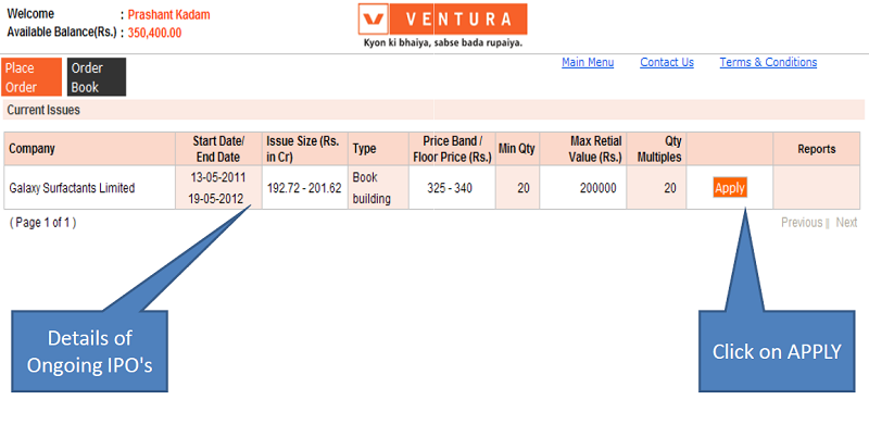 Apply IPO with Ventura Securities - Step 2