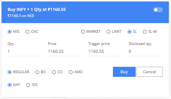 Zerodha Kite MIS Buy