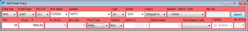 Sell Order Entry - NSE Future (NIFTY)